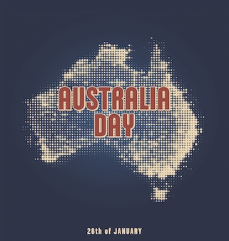 Dzień australii - 26 stycznia - projekt typograficzny z mapą półtonów