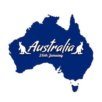 Dzień australii kraj mapa z kangura