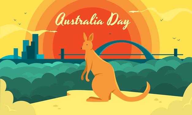 Dzień australii poziomy z kangurem jako symbolem kraju i pięknym krajobrazem miejskim.