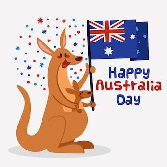Dzień australii w płaskiej konstrukcji
