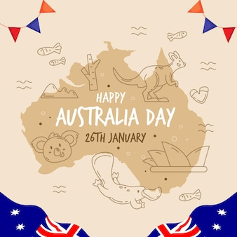 Dzień australii z australijską mapą