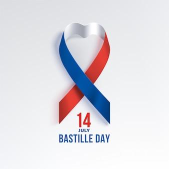 Dzień bastylii we francji ze wstążką w kształcie serca