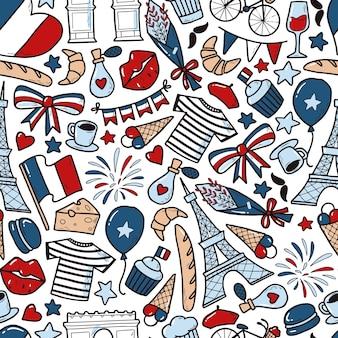 Dzień bastylii wzór z doodles