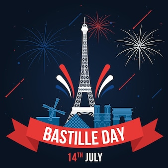 Dzień bastylii z wieżą eiffla i fajerwerkami