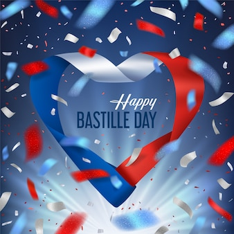 Dzień bastylii ze wstążką i salutem konfetti
