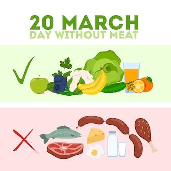 Dzień bez mięsa. mięso dla zdrowego odżywiania i równowagi