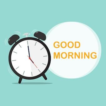 Dzień dobry budzik czas płaski wektor