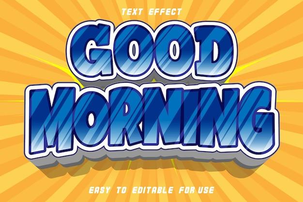 Dzień dobry edytowalny efekt tekstowy wytłoczony styl komiksowy