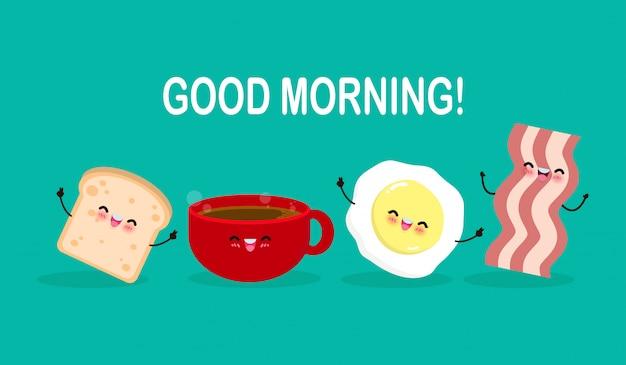 Dzień dobry kreskówka szczęśliwy filiżanka kawy, jajko, tosty, bekon, śniadanie śmieszne postacie na białym tle płaski ilustracja