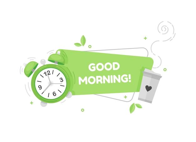 Dzień dobry ładny baner z budzikiem i filiżanką kawy w płaskiej konstrukcji