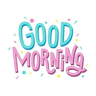 Dzień dobry napis. ładny ręcznie rysowane napis.