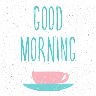 Dzień dobry. odręczny napis i ręcznie robiona okładka doodle na projekt karty, zaproszenia, koszulki, książki, banera, plakatu, albumu, albumu itp.