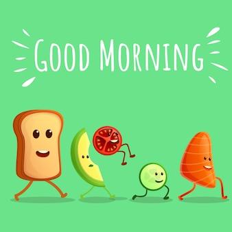 Dzień dobry składników ilustracji