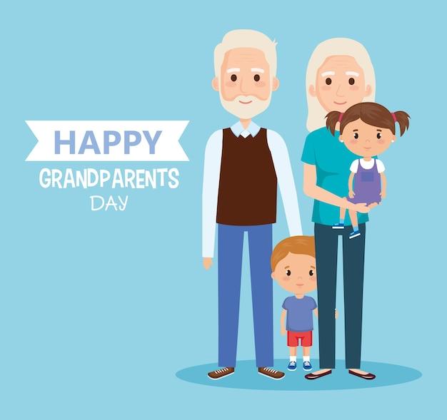 Dzień dziadków z postaciami wnuków