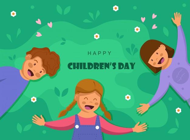 Dzień dziecka. dzień przyjaźni. dzieci śmieją się razem, szczęśliwie.