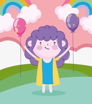 Dzień dziecka, kreskówka mała dziewczynka na trawie z tęczowymi balonami celebracja ilustracji wektorowych