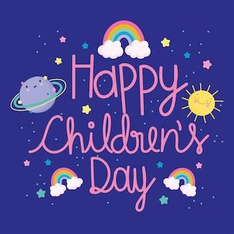 Dzień dziecka, kreskówka ręcznie rysowane napis tęcze planeta słońce gwiazdy celebracja karta wektor ilustracja
