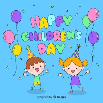 Dzień dziecka kreskówki kolorowy powitania tło
