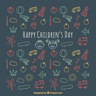 Dzień dziecka w tle kolorowych rysunków