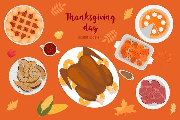 Dzień dziękczynienia szablon projektu wektor plakaty banery zaproszenia kartkę z życzeniami