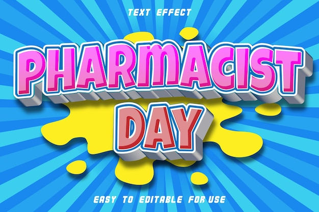 Dzień farmaceuta edytowalny efekt tekstowy wytłoczony styl komiksowy