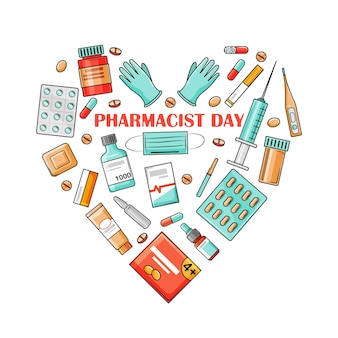 Dzień farmaceuta to święto 25 września. leki ułożone są w formie serca. ilustracja wektorowa na białym tle w stylu kreskówki.