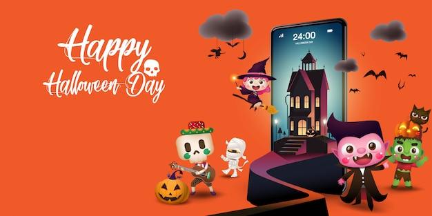 Dzień halloween na telefonie komórkowym