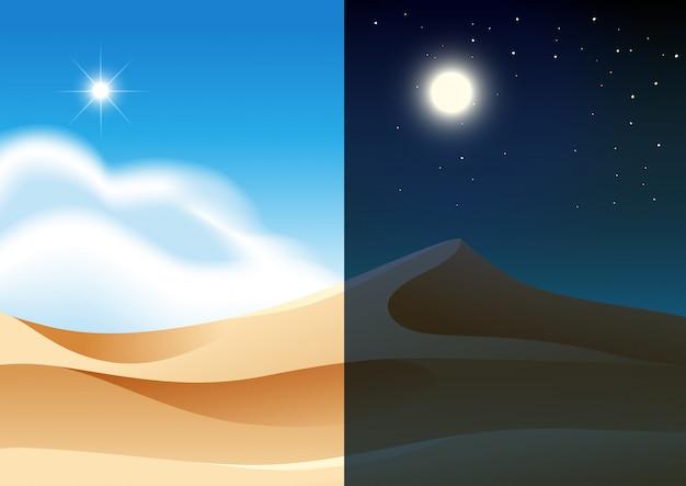 Dzień i noc w pustynnym krajobrazie