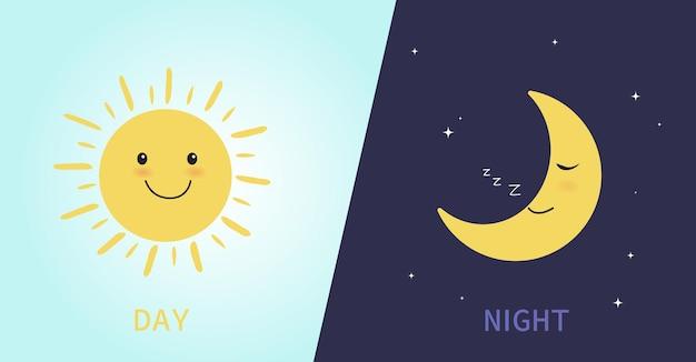 Dzień i noc ze słodkim uśmiechniętym słońcem i spaniem księżyca