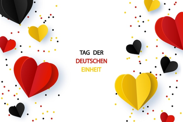 Dzień jedności niemiec tag der deutschen einheit tło z niemiec flagi kształt serca i konfetti