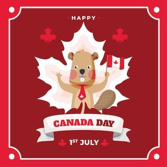 Dzień kanady z bobra, trzymając flagę