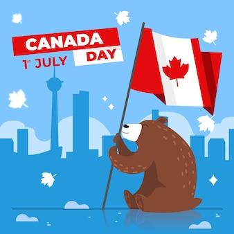 Dzień kanady z niedźwiedzia, trzymając flagę