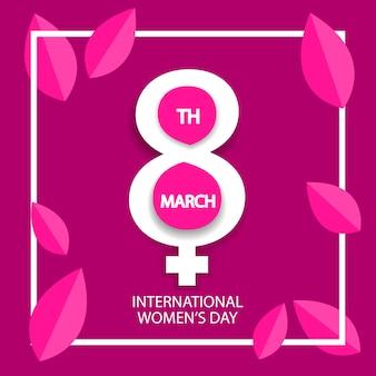 Dzień kobiet 8 marca celebracja znak na różowym tle