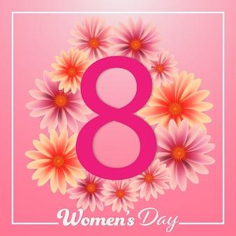 Dzień kobiet 8 marca kolorowe kwiaty różowe tło.