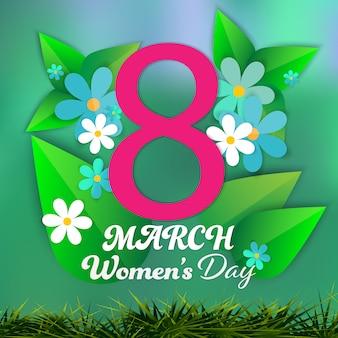 Dzień kobiet 8 marca papieru wyciąć zielone tło.