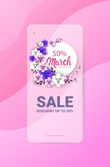 Dzień kobiet 8 marca święto sprzedaż baner ulotka lub karta z pozdrowieniami z kwiatami pionowej ilustracji