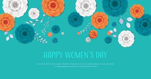 Dzień kobiet 8 marca święto święto ulotka transparent lub kartka z pozdrowieniami z ozdobnymi papierowymi kwiatami 3d rendering poziomej ilustracji