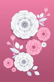 Dzień kobiet 8 marca święto święto ulotki baner lub kartka z pozdrowieniami z ozdobnymi papierowymi kwiatami 3d renderowania pionowa ilustracja