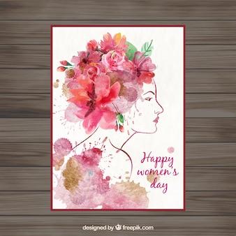 Dzień kobiet akwarela karty