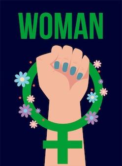 Dzień kobiet, kobieta podniosła rękę ilustracja kwiatowy symbol płci