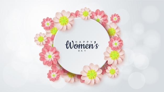 Dzień kobiet koło w otoczeniu kwiatów.