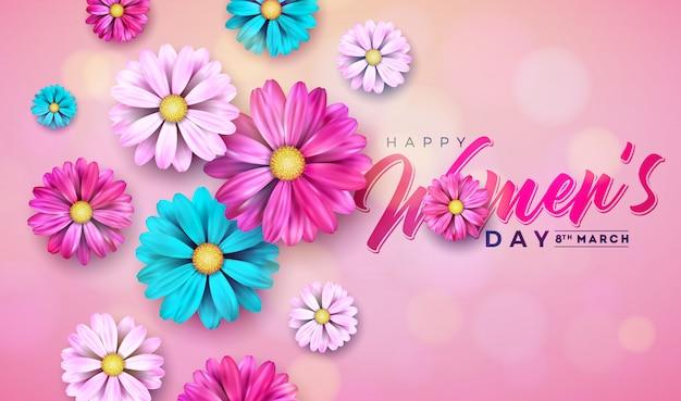 Dzień kobiet kwiatowy pozdrowienie ilustracja z kwiatem