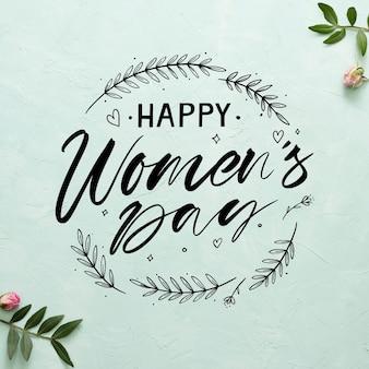 Dzień kobiet napis na niebieskim tle