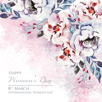 Dzień kobiet napis z pięknymi kwiatami akwarela