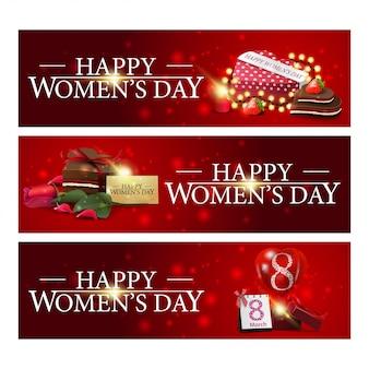 Dzień kobiet trzy czerwone poziomy gratulacyjny banery