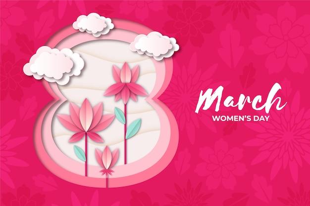 Dzień kobiet w stylu papierowym z kwiatami