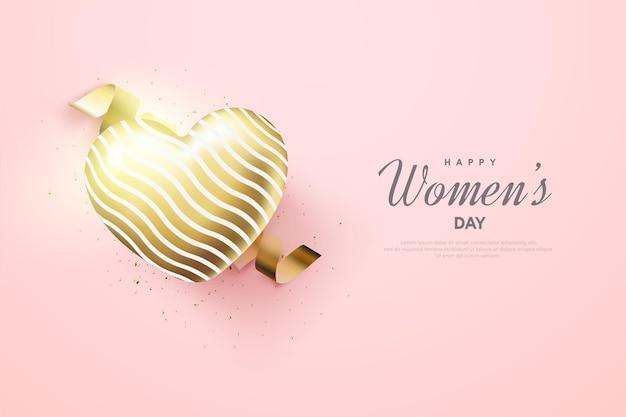 Dzień kobiet z fantazyjną złotą ilustracją balonu miłości.