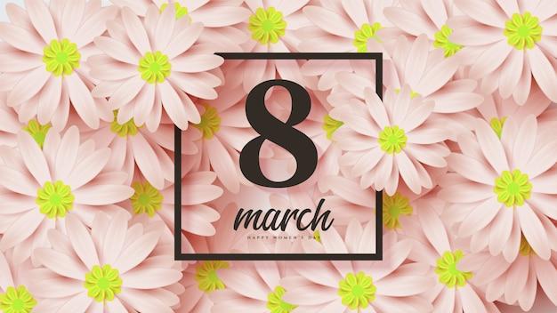 Dzień kobiet z ilustracją 8 z kwiatami poniżej.