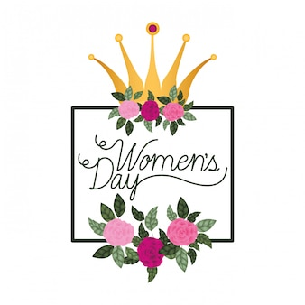 Dzień Kobiet Z Róż Rama Ikona Na Białym Tle Premium Wektorów