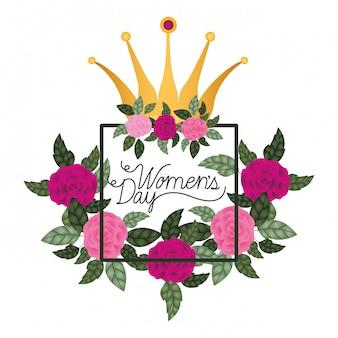 Dzień kobiet z róż rama ikona na białym tle